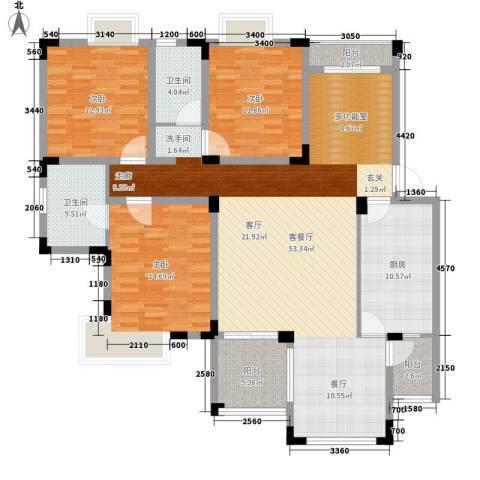 中海国际社区碧林3室1厅2卫1厨140.00㎡户型图