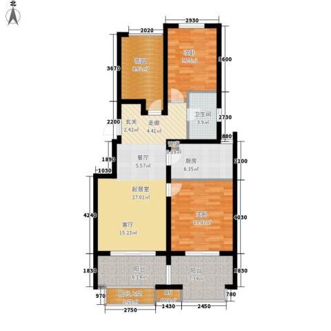 山水湖滨花园2室0厅1卫1厨98.00㎡户型图