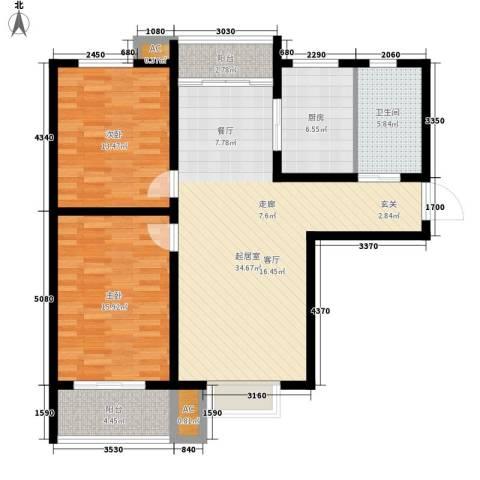 北城山水2室0厅1卫1厨98.00㎡户型图