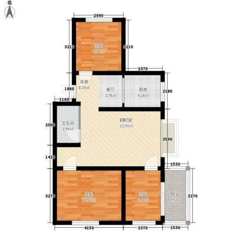 秦房 里仁居3室0厅1卫1厨83.00㎡户型图