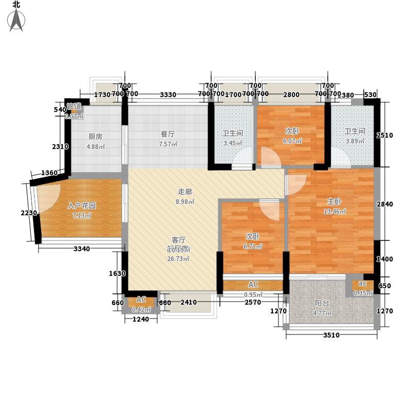 金域豪庭87.59㎡金域豪庭户型图三期户型7B偶数层3室2厅2卫户型3室2厅2卫