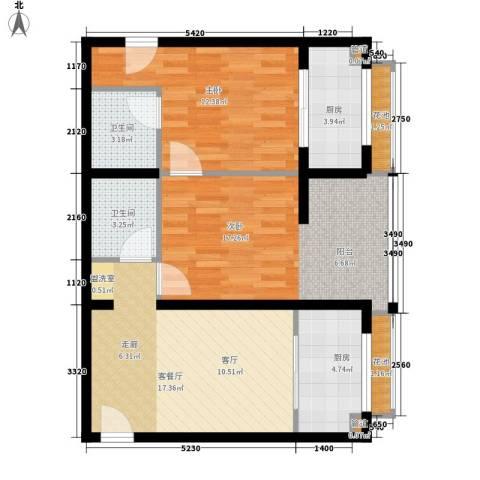 芳馨园小区2室1厅2卫2厨90.00㎡户型图