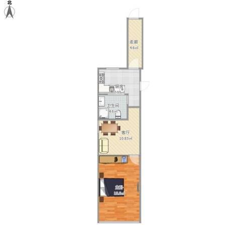 芳华路713弄小区1室1厅1卫1厨63.00㎡户型图