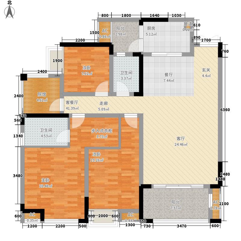 国际社区140.00㎡江御二期3号楼标准层D户型
