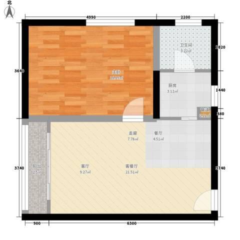 1号公寓1室1厅1卫1厨57.00㎡户型图