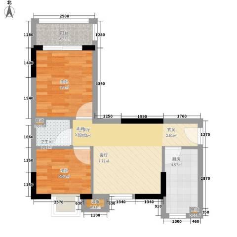 翰林苑小区2室1厅1卫1厨55.00㎡户型图