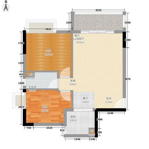 翰林苑小区2室1厅1卫1厨81.00㎡户型图
