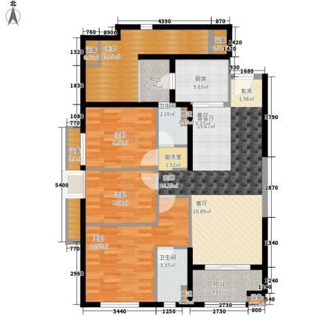 万科广场3室1厅2卫1厨112.00㎡户型图