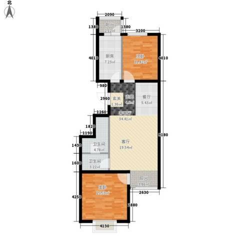 汇豪山水华府2室1厅2卫1厨89.00㎡户型图
