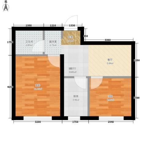 江城文苑2室1厅1卫1厨62.00㎡户型图