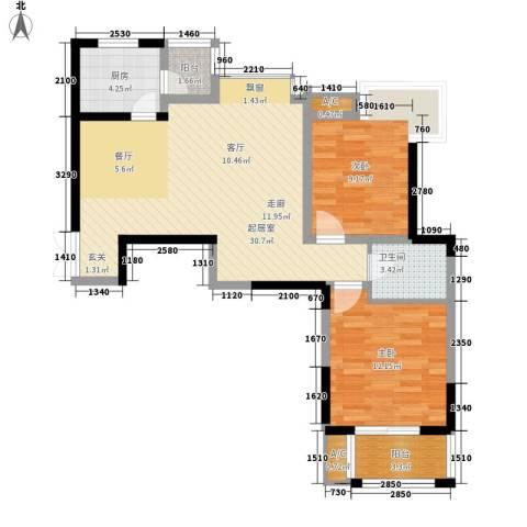 天朗西子湖2室0厅1卫1厨90.00㎡户型图
