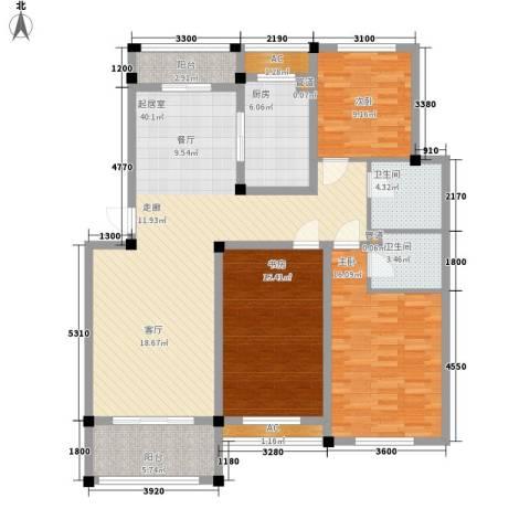 中亚.东方名都3室0厅2卫1厨153.00㎡户型图