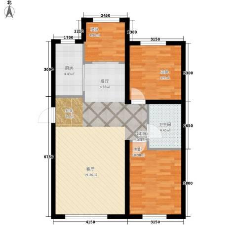 江城文苑3室1厅1卫1厨66.20㎡户型图