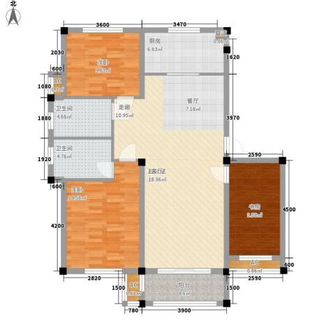 中亚.东方名都3室0厅2卫1厨133.00㎡户型图