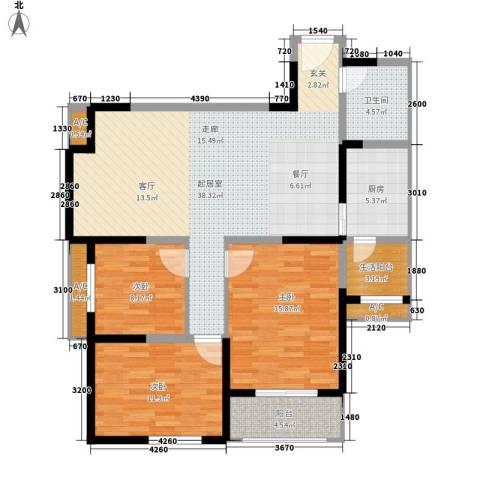 莱茵小城3室0厅1卫1厨117.00㎡户型图