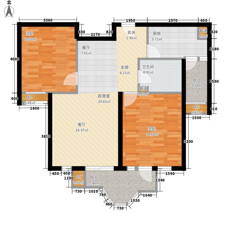 麦子店西里2号楼1单元0303-2103(B9)户型2室2厅1卫1厨