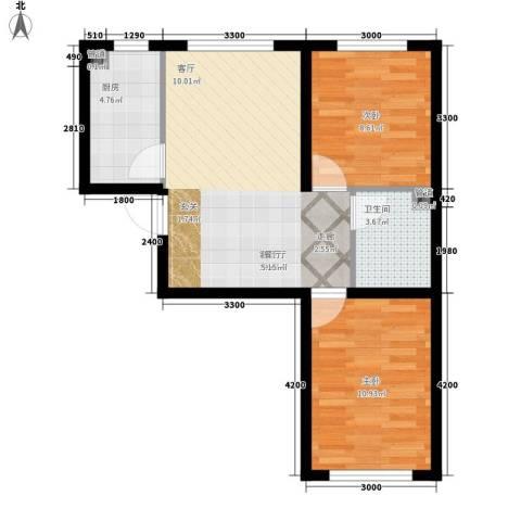 江城文苑2室1厅1卫1厨47.61㎡户型图