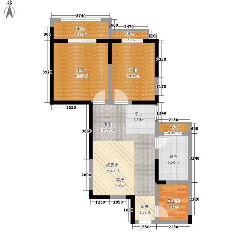 莱茵小城户型图二期D户型 2室2厅1卫1厨