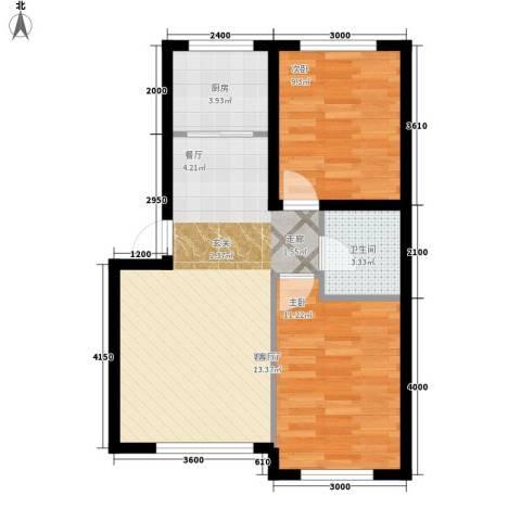江城文苑2室1厅1卫1厨49.28㎡户型图