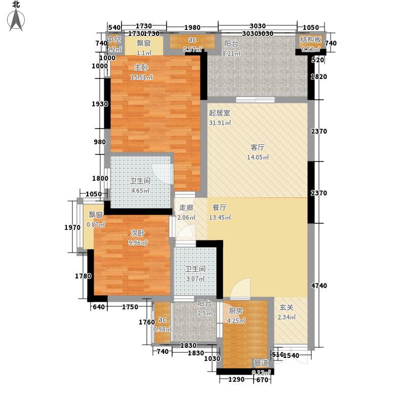 国兴北岸江山A1号楼A-14户型2室2厅