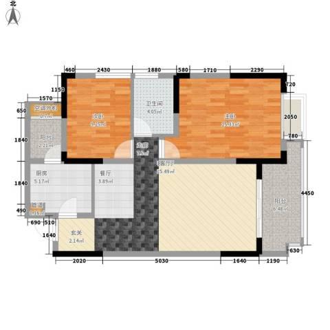 聚信广场2室1厅1卫1厨104.00㎡户型图