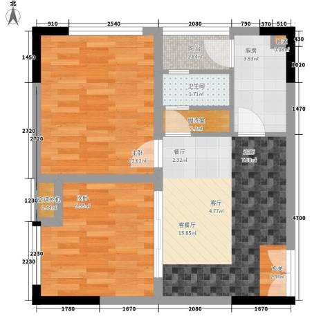 百康年奥运光年2室1厅1卫1厨54.00㎡户型图