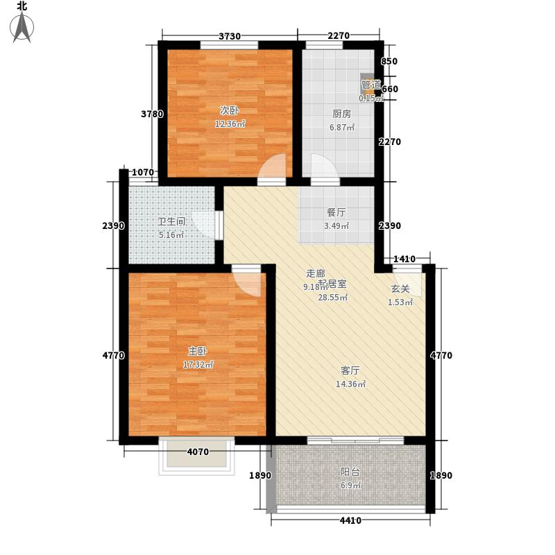 金色航城1期户型图A2户型2室2厅1卫1厨