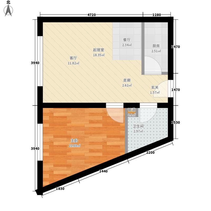 丽水丁香园40.00㎡10号户型1室1厅1卫1厨
