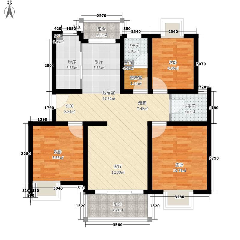金色航城83.00㎡1期户型图G1户型2室2厅1卫1厨
