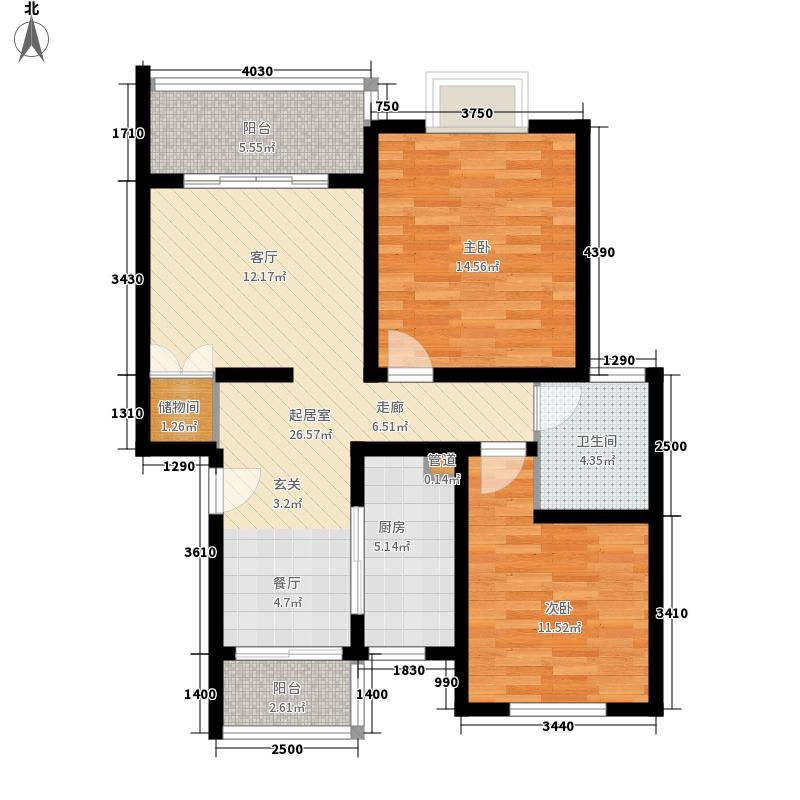 金色航城83.92㎡1期户型2室2厅1卫1厨