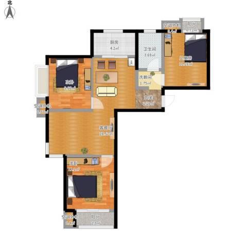 学府嘉园3室1厅1卫1厨100.00㎡户型图