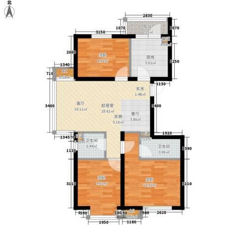 丽水丁香园3室0厅2卫1厨74.00㎡户型图
