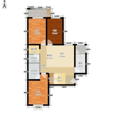 广丰花园3室1厅2卫1厨121.00㎡户型图