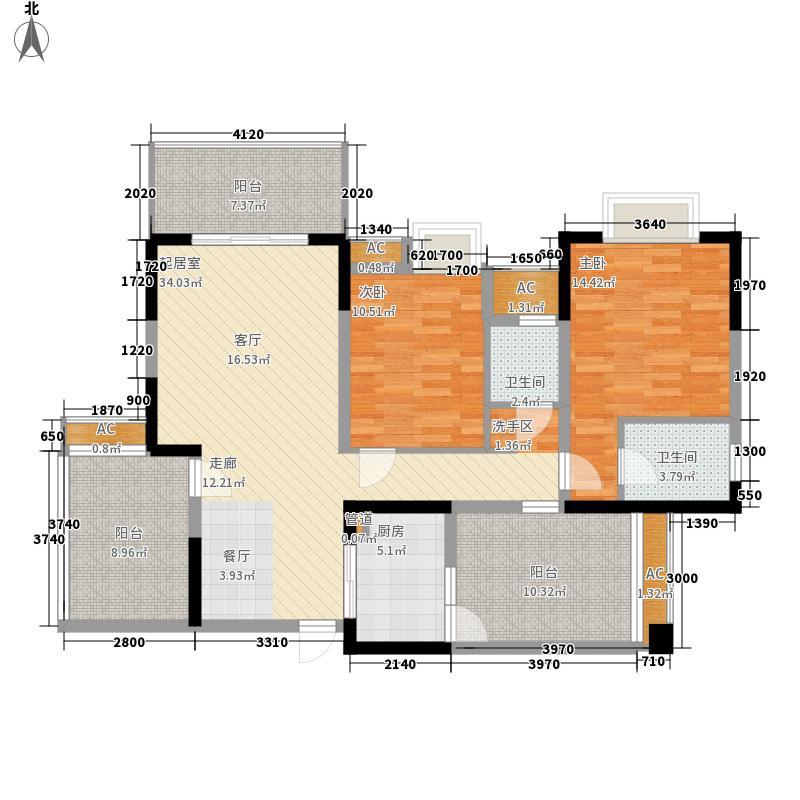 维港108.00㎡一期4、6号楼A5户型2室2厅2卫1厨