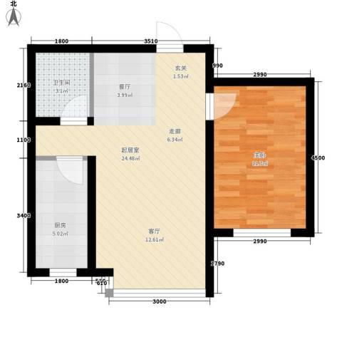 城市之星1室0厅1卫1厨63.00㎡户型图
