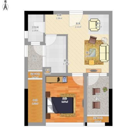 大有智慧广场1室1厅1卫1厨61.00㎡户型图