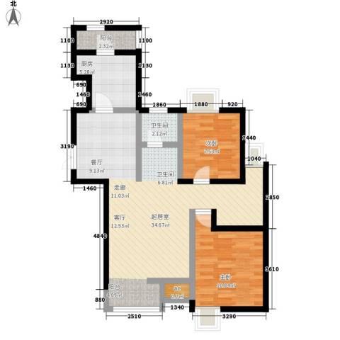 亿城山水颐园2室0厅1卫1厨113.00㎡户型图