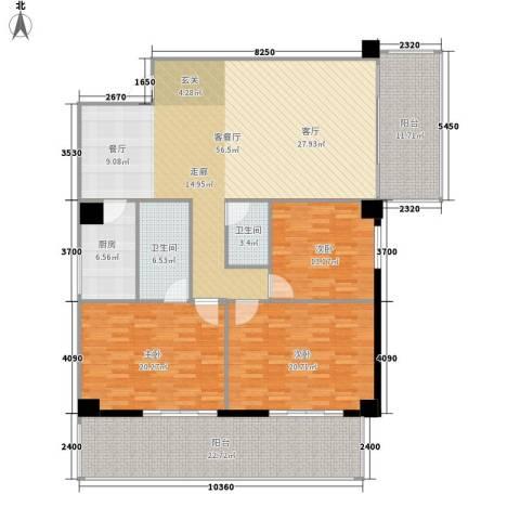 御笔华章3室1厅2卫1厨175.00㎡户型图