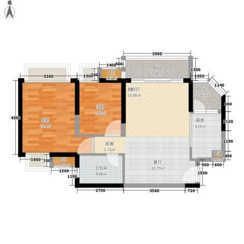 建大五小区2室1厅1卫1厨80.00㎡户型图