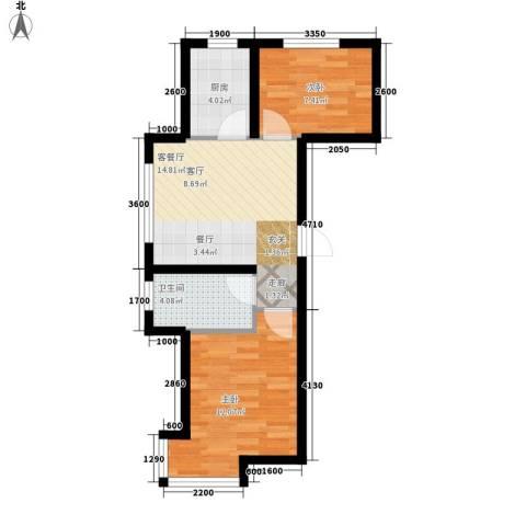 江城文苑2室1厅1卫1厨42.39㎡户型图