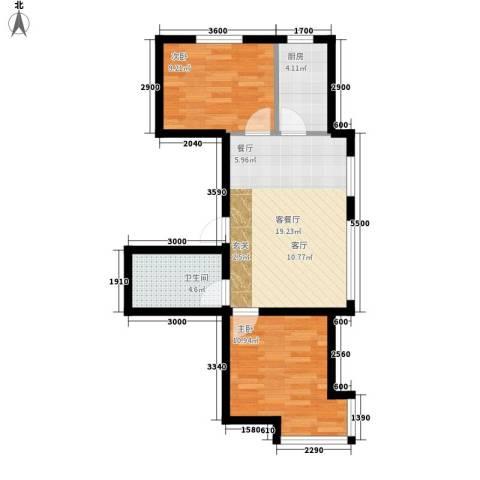 江城文苑2室1厅1卫1厨48.09㎡户型图