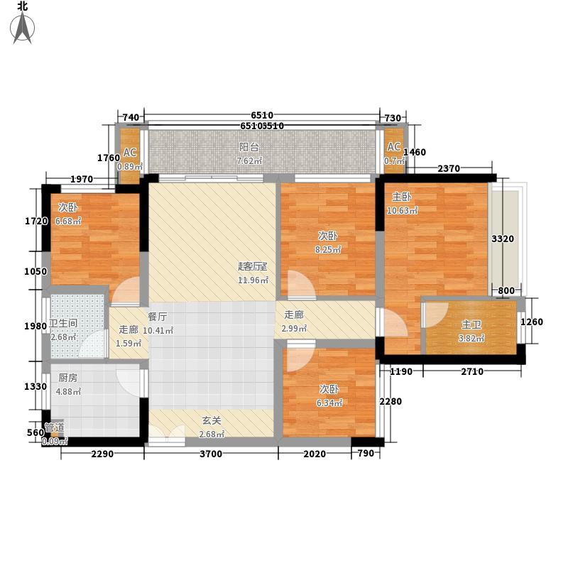 中国铁建江湾山语城8.00㎡36#D-4户型4室2厅2卫1厨