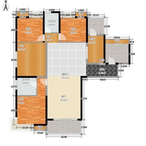 绵阳CBD万达广场3室1厅2卫1厨143.00㎡户型图