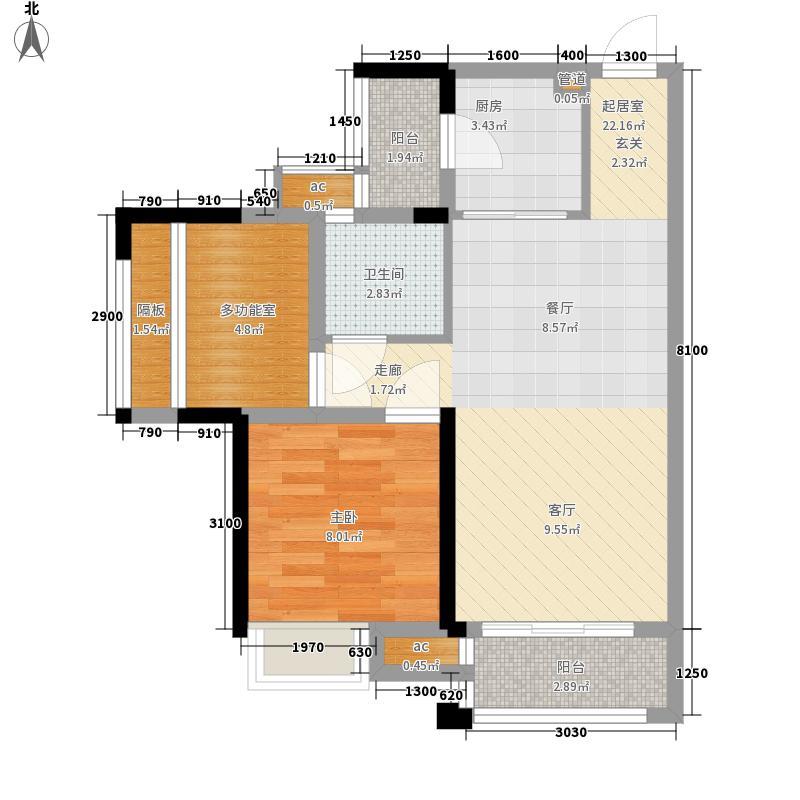 龙光普罗旺斯61.00㎡波尔多组团02-03-07户型2室2厅