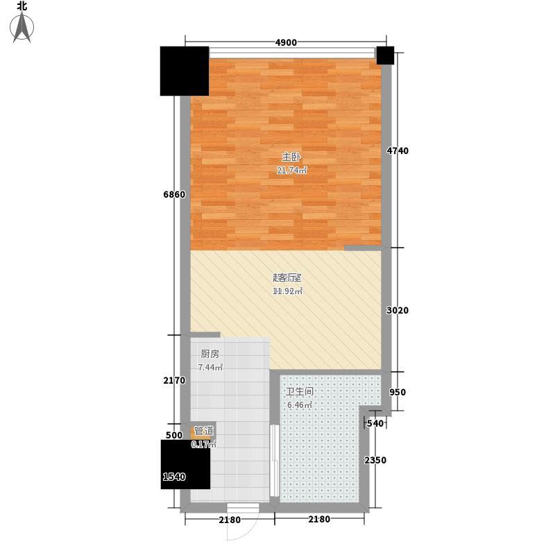 时代国际53.00㎡时代国际户型图乐居风尚公寓Cb户型1室1厅1卫户型1室1厅1卫