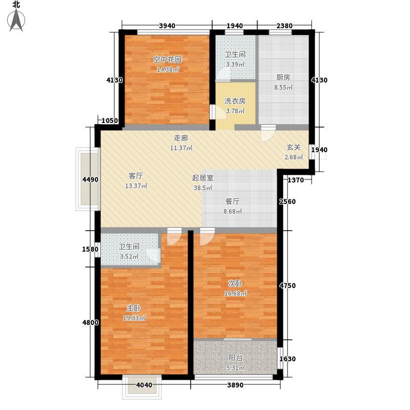 华夏泉绅123.00㎡N1面积约为123M2户型