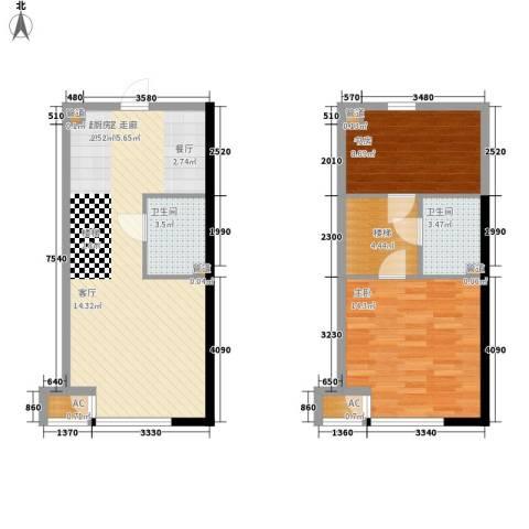 上榀坐2室0厅2卫0厨64.16㎡户型图
