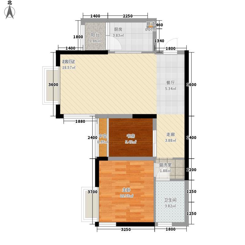 龙光普罗旺斯72.00㎡3号楼一、二单元03/07户型1室2厅