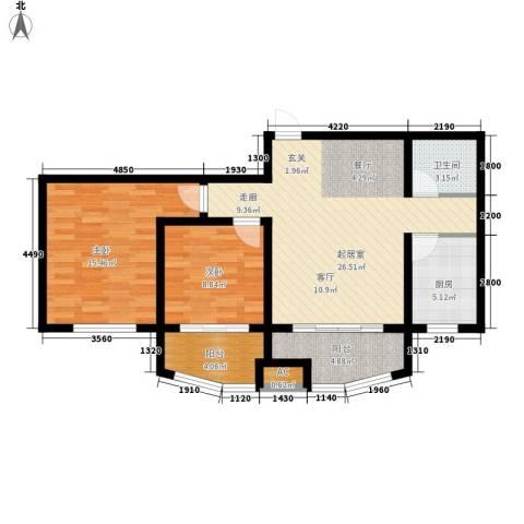 城市之星2室0厅1卫1厨100.00㎡户型图