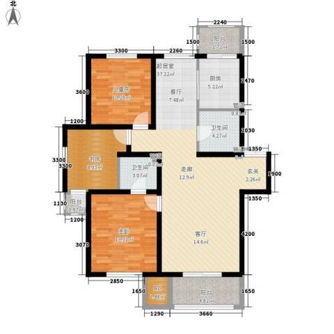 明华西江俪园3室0厅2卫1厨118.00㎡户型图